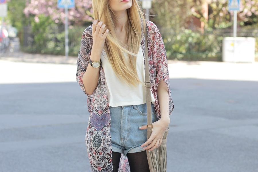 Kimono Jeansshorts Outfit 10