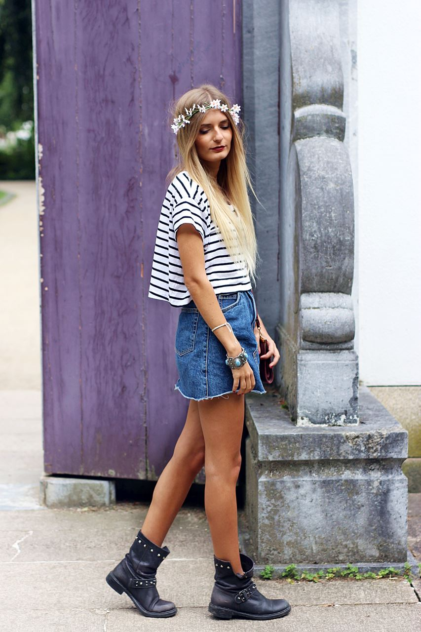Modeblog-German-Fashion-Blog-Outfit-Jeansrock-Streifen-Shirt-1